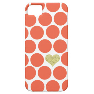 Vermillion Orange Polka Dots Glitter Heart iPhone iPhone 5 Case