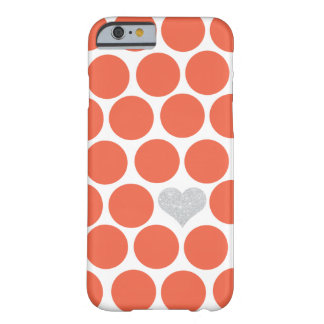 Vermillion Orange Polka Dots Silver Glitter Heart Barely There iPhone 6 Case