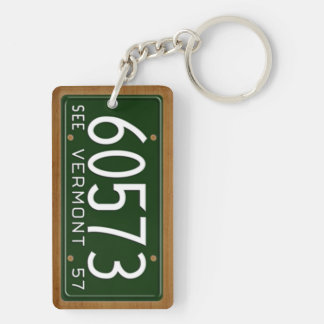 Vermont 1957 Vintage License Plate Keychain Acrylic Key Chains