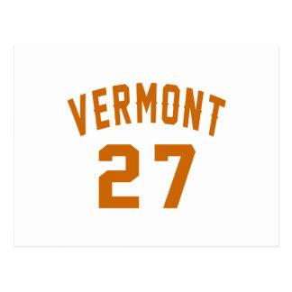 Vermont 27 Birthday Designs Postcard
