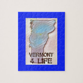"""""""Vermont 4 Life"""" State Map Pride Design Jigsaw Puzzle"""
