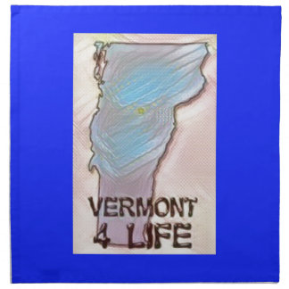 """""""Vermont 4 Life"""" State Map Pride Design Napkin"""