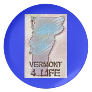 """""""Vermont 4 Life"""" State Map Pride Design Party Plates"""