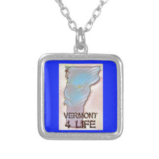 """""""Vermont 4 Life"""" State Map Pride Design Silver Plated Necklace"""