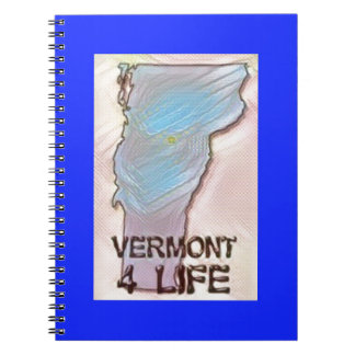 """Vermont 4 Life"" State Map Pride Design Spiral Notebook"
