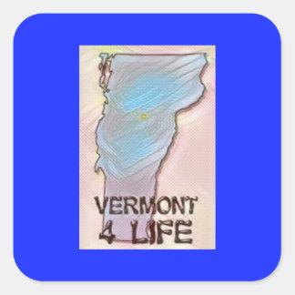 """""""Vermont 4 Life"""" State Map Pride Design Square Sticker"""