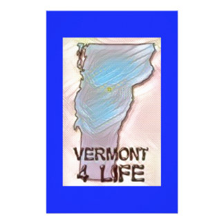 """Vermont 4 Life"" State Map Pride Design Stationery"