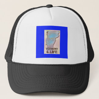 """Vermont 4 Life"" State Map Pride Design Trucker Hat"
