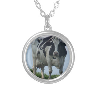 Vermont  Black and White Dairy Cow Silver Plated Necklace