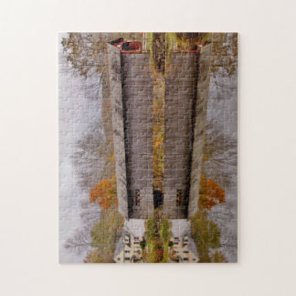 Vermont Covered Bridge Reflection Jigsaw Puzzle