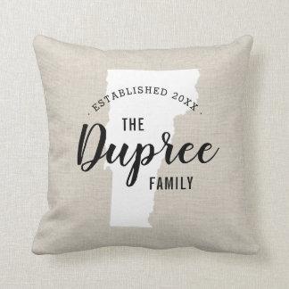 Vermont Family Monogram State Throw Pillow