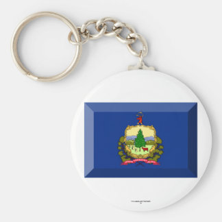 Vermont Flag Gem Basic Round Button Key Ring