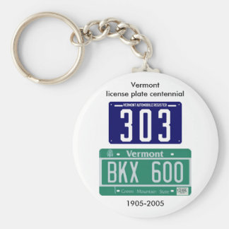Vermont license plate centennial key ring