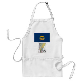 Vermont Map and State Flag Adult Apron