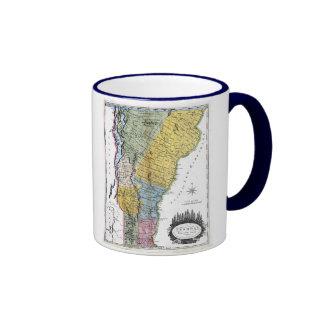 Vermont Map and State Flag Ringer Mug