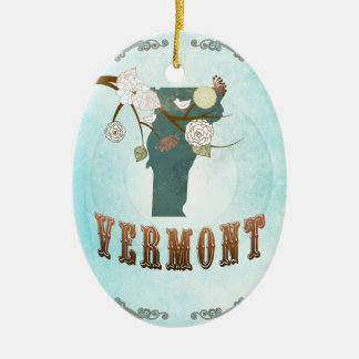 Vermont Map With Lovely Birds Ceramic Oval Decoration
