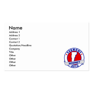 Vermont Mitt Romney Double-Sided Standard Business Cards (Pack Of 100)