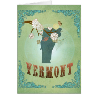 Vermont Modern Vintage State Map – Green Greeting Card