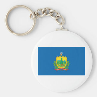 Vermont  Official State Flag Basic Round Button Key Ring