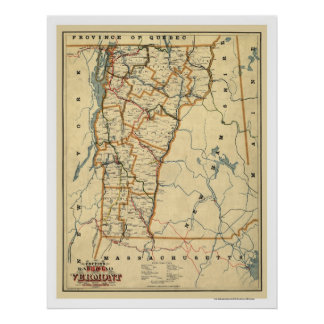 Vermont Railroad & Town Map 1896 Poster