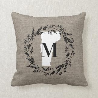 Vermont Rustic Wreath Monogram Throw Pillow