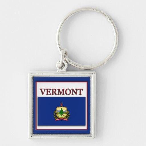 Vermont State Flag Design Premium Keychain