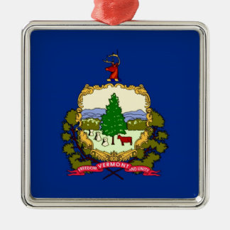 Vermont State Flag Silver-Colored Square Decoration