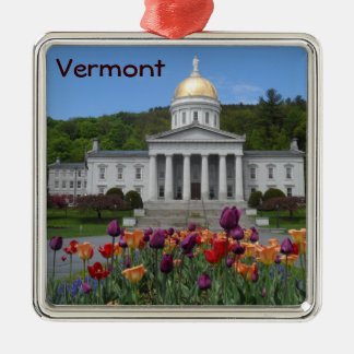 Vermont State House -Montpelier Silver-Colored Square Decoration