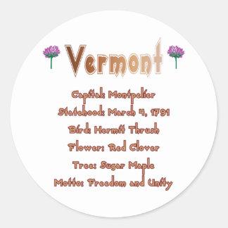 Vermont State Info Sticker