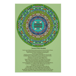 Vermont State Mandala Poster