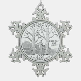 Vermont State Quarter Snowflake Pewter Christmas Ornament