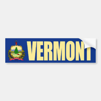 Vermont with State Flag Bumper Sticker