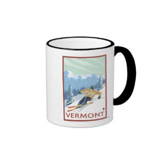 VermontDownhill Skier Scene Coffee Mugs