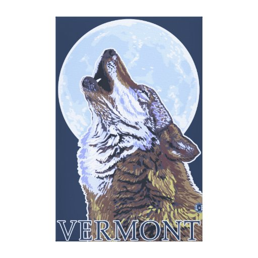 VermontHowling Wolf Stretched Canvas Prints