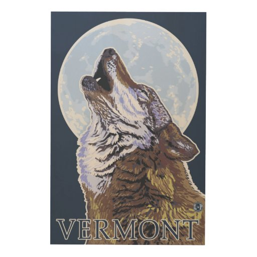 VermontHowling Wolf Wood Prints