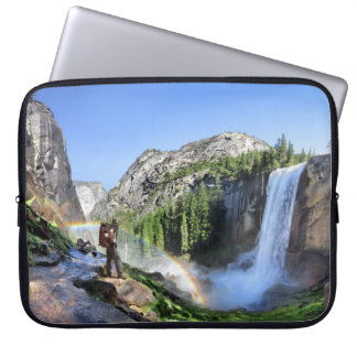 Vernal Fall Hiker and Rainbow - Yosemite Laptop Sleeve