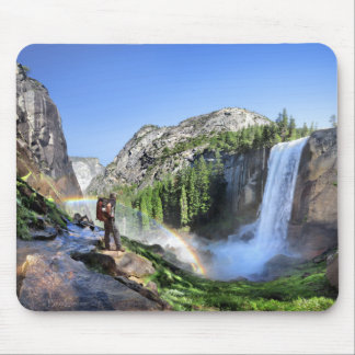 Vernal Fall Hiker and Rainbow - Yosemite Mouse Pad