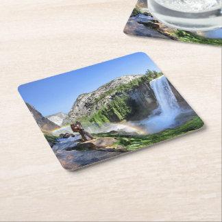Vernal Fall Hiker and Rainbow - Yosemite Square Paper Coaster