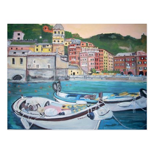 Vernazza Harbor Greetings Postcard