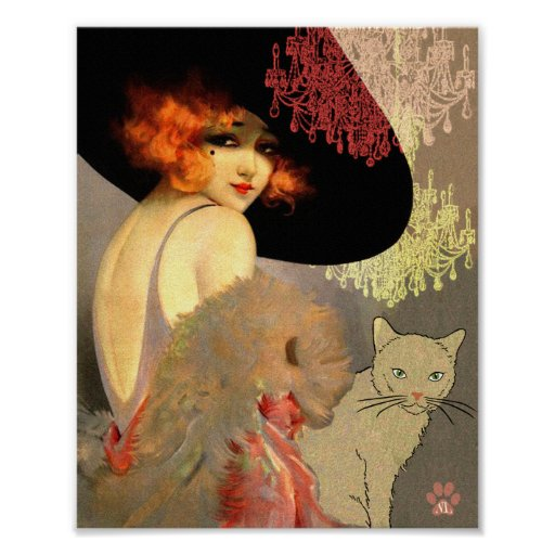 Veronica Cat and Chandelier Poster or Print