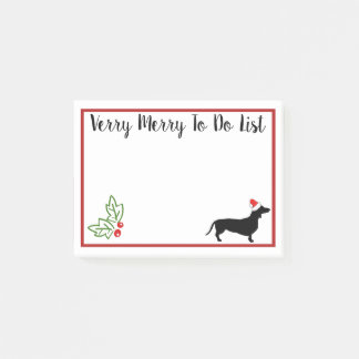Verry Merry Christmas Dachshund To Do List Post-it Notes