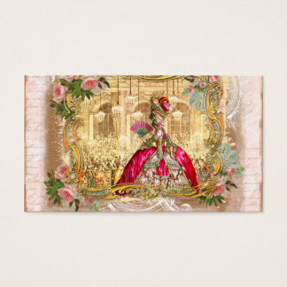 versailles marie golden framing roses pink second business card