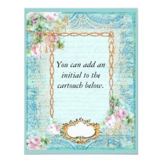 "Versailles Pink Roses Invitation 4.25"" X 5.5"" Invitation Card"