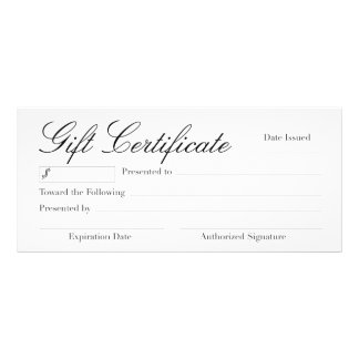 Versatile Gift Certificate Rack Card