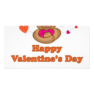 Vert cute valentine bear photo card