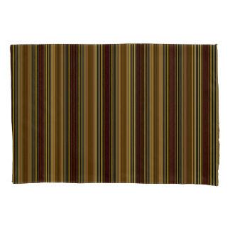 Vert/Stripes Golds Brown Modern Pillowcase Set
