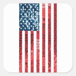 vertical american flag square sticker