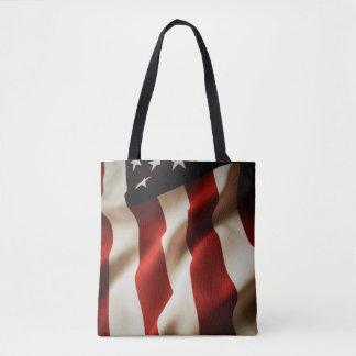 Vertical American flag Tote Bag