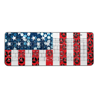 vertical american flag wireless keyboard