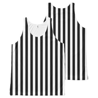 Vertical Black and White Stripes All-Over Print Singlet